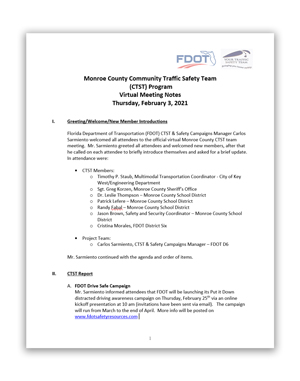 Monroe County CTST virtual meeting February 3 2021 - Meeting Notes